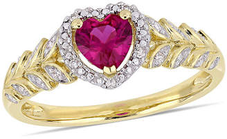 FINE JEWELRY Womens Diamond Accent Lab Created Red Ruby 10K Gold Heart Cocktail Ring