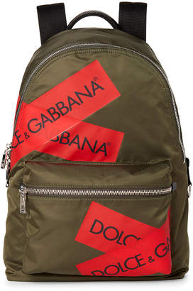 Dolce & Gabbana Olive & Red Logo Tape Nylon Backpack