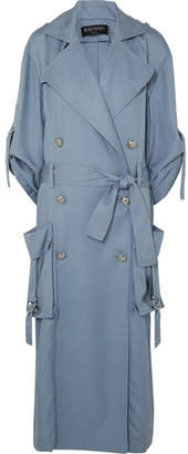 Balmain Double-breasted Lyocell Trench Coat - Blue