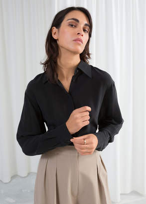 And other stories Pointed Collar Silk Shirt