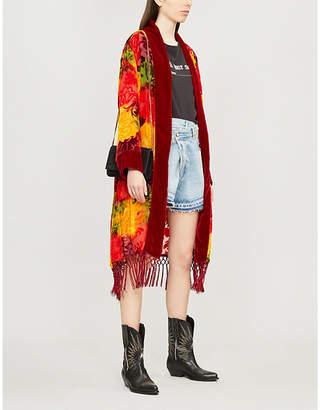 The Kooples Fringed longline velvet kimono jacket