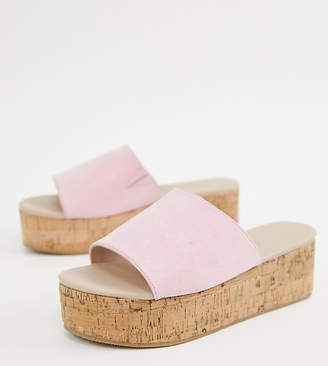 Asos Design DESIGN Wide Fit Tillie flatform mules