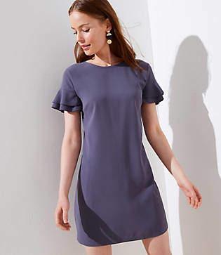 LOFT Petite Tiered Flutter Sleeve Shift Dress