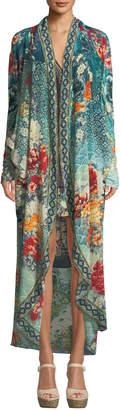Camilla Open-Front Embellished Long Floral Caftan