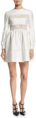 Valentino Long-Sleeve Lace-Striped Silk Mini Dress