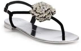 Giuseppe Zanotti Swarovski Crystal Rose T-Strap Velvet Sandals