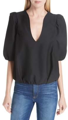 BA&SH Petra Cotton Blend Puff Sleeve Blouse