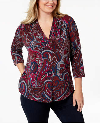 Charter Club Plus Size Paisley-Print Pleated V-Neck Top, Created for Macy's
