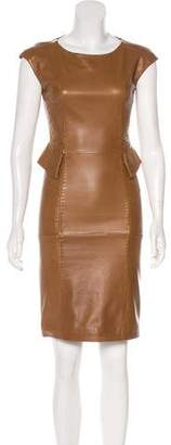 Alberta Ferretti Leather Knee-Length Dress