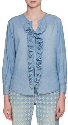 Etoile Isabel Marant Liz Hook-Front Long-Sleeve Denim Blouse with Ruffled Trim
