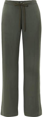 Theory Winszlee Washed-silk Pants - Green