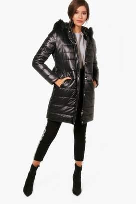 boohoo Harriet High Shine Padded Belted Coat