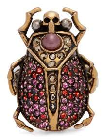 Alexander McQueen Scarab Crystal Pave Ring - Womens - Pink