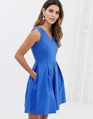 Closet London Closet V-Neck Front Panel Flared Skirt Dress