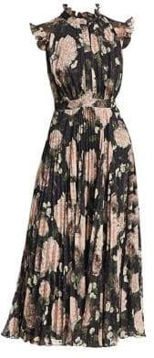 Erdem Women's Roisin Pleated Floral-Print A-Line Dress - Black Pink Floral - Size UK 16 (12)