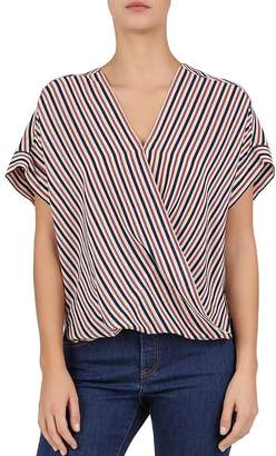 86ea960899c59 Gerard Darel Eugenie Striped Crossover Silk Blouse