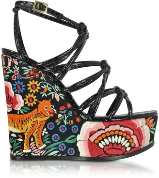 Roberto Cavalli Floral Embroidered Black Leather Wedges