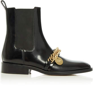 Givenchy Chain-Embellished Leather Chelsea Boots Size: 36