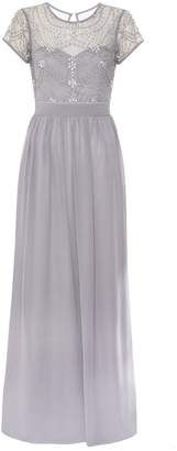 Quiz Grey Chiffon Cap Sleeve Embellished Maxi Dress