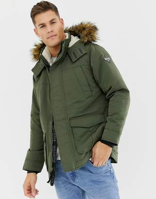 Hollister all weather faux fur trim & lining hooded parka in green
