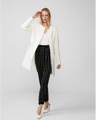 Express zip detail collarless coat