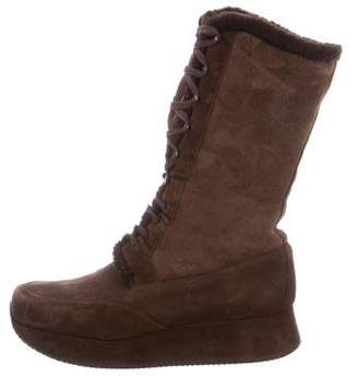 Stephane Kelian Shearling-Trimmed Wedge Boots