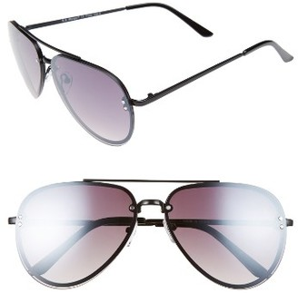 Women's A.j. Morgan 60Mm Aviator Sunglasses - Black/ Mirror $24 thestylecure.com