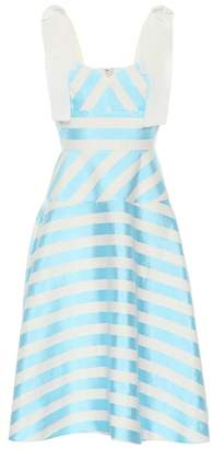 DELPOZO Striped linen-blend midi dress