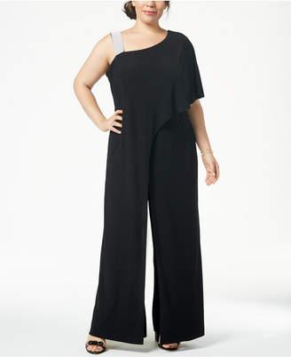 R & M Richards Plus Size Asymmetrical Jumpsuit