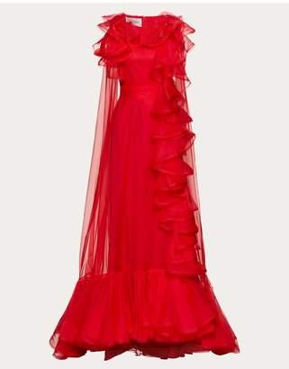 Valentino Organza Evening Dress With Ruffles