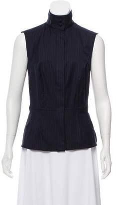 Karl Lagerfeld Pinstripe Wool Sleeveless Top