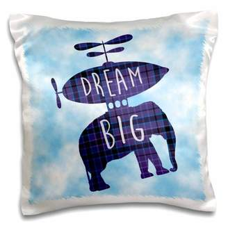 3dRose Dream Big-Airship Floating with Elephant in Blue Sky - Pillow Case, 16 by 16-inch