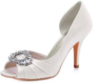 at Amazon Canada · Elegantpark HP1710 Women High Heel Pumps Peep Toe  Rhinestones Brooch Satin Bridal Wedding Shoes US 7 db589ecb83ac