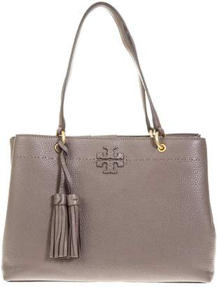 Tory Burch Mcgraw Taupe Leather Tote Bag