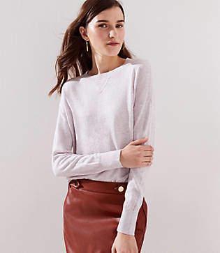 LOFT Petite Sweatshirt Trim Sweater