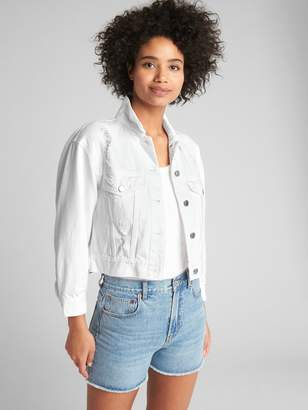 Gap Crop Icon Denim Jacket with Distressed Detail