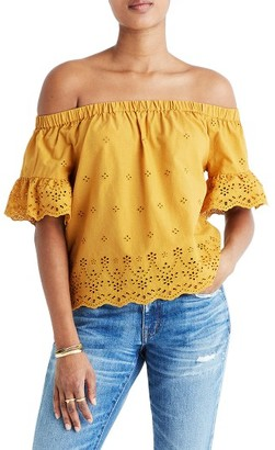 Women's Madewell Off The Shoulder Eyelet Blouse $88 thestylecure.com