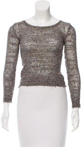 JOSEPHJoseph Embellished Scoop Neck Sweater