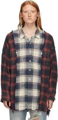 R 13 Red and Navy Drop Neck Combo Work Shirt