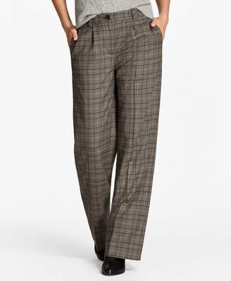 Brooks Brothers Glen Plaid Wide-Leg Pants