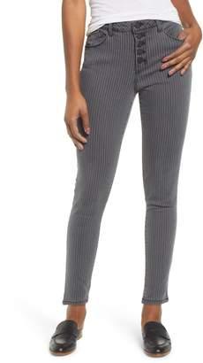 Wit & Wisdom High Waist Button Fly Pinstripe Jeans