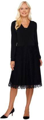Dennis Basso Knit Faux Wrap Dress with Lace Skirt