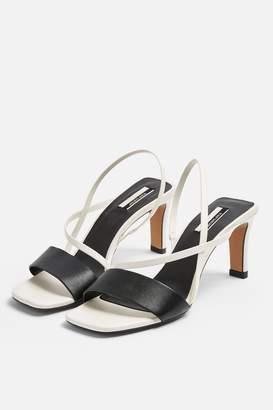 Topshop NETTLE White Strap Sling Back Heels