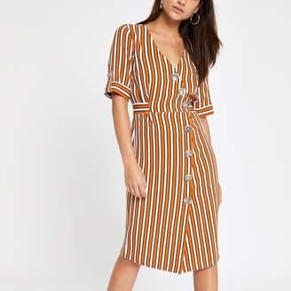 River Island Womens Petite Orange stripe button front midi dress
