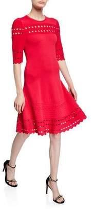 Shoshanna Menena Cutout Edge Elbow-Sleeve Ponte Dress