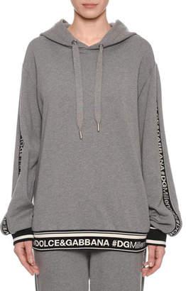 Dolce & Gabbana Millennial Logo Long-Sleeve Hooded Oversized Sweatshirt