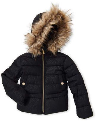 Michael Kors Girls 4-6x) Black Cheetah Hooded Puffer Coat