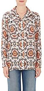 L'Agence WOMEN'S SOLEIL SILK FRENCH CUFF BLOUSE-APRICOT COMBO SIZE XS