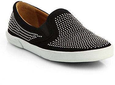 Jimmy Choo Demi Studded Suede Slip-Ons