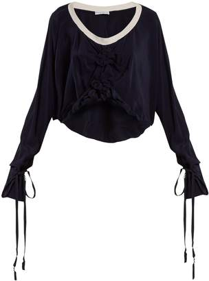 J.W.Anderson Florette-embellished tie-cuff silk top